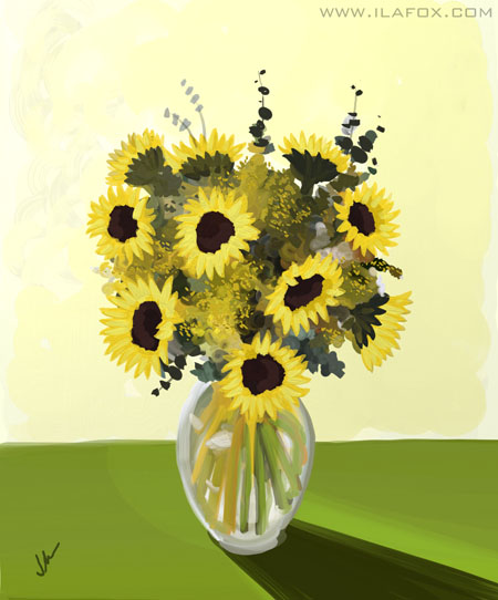 30 Day Drawing Challenge, fav plant, Desafio dos 30 dias de desenho, planta favorita, girassol, by ila fox