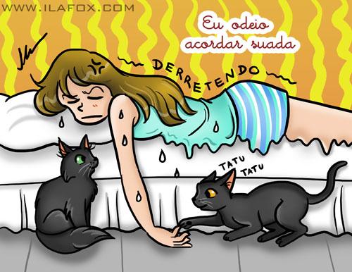 Odeio acordar suada, ilustração by ila fox
