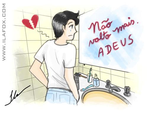 inspiração disse adeus no espelho do banheiro, dicas para ilustradores, ilustração by ila fox