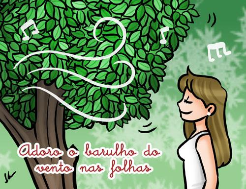 Adoro o barulho vento nas folhas, ilustração by ila fox