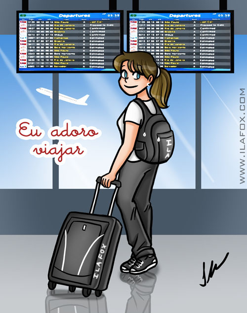 Eu adoro viajar, No Aeroporto, ilustração by Ila Fox