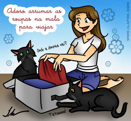Adoro arrumar as roupas na mala para viajar ilustração by ila fox