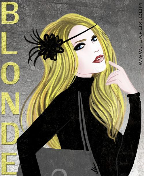 Ilustração Mulher loira, cabelo comprido, segurando bolsa, mão na boca, dia do orgulho loiro, by Ila Fox