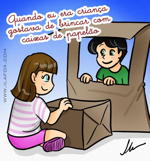 quando era criança dorava brincar com caixas de papelão,ilustração by ila fox