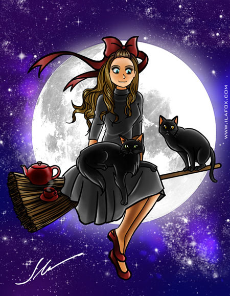 ilustrao de dia das bruxas kiki delivery service by ila fox