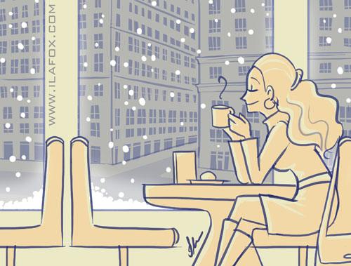 ilustração café em Nova York, New York, by ila fox