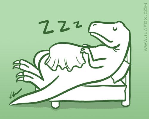 Cama Dinossauro, busca bizarra, ilustração by ila fox