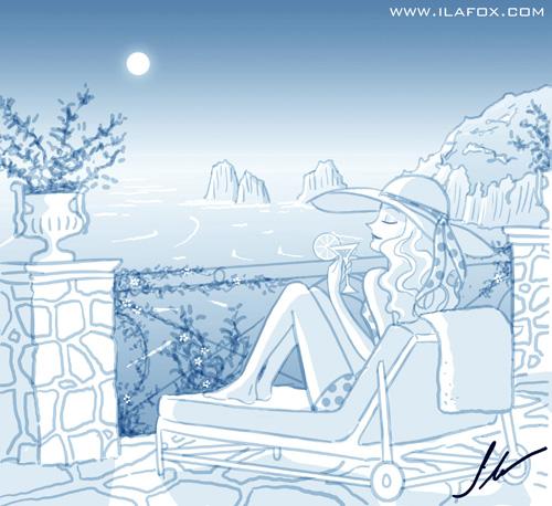 luxo, poder e glamour na Ilha de Capri - ilustração by ila fox