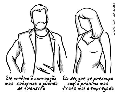 carapuças, ele critica a corrupção mas subornou o guarda de transito, ela diz que e preocupa com o próximo mas trata mal sua empregada, ilustração by ila fox