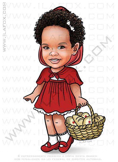 caricatura infantil, caricatura bebê, caricatura chapeuzinho vermelho, caricatura personalizada, caricatura meiga, caricatura para criança, by ila fox