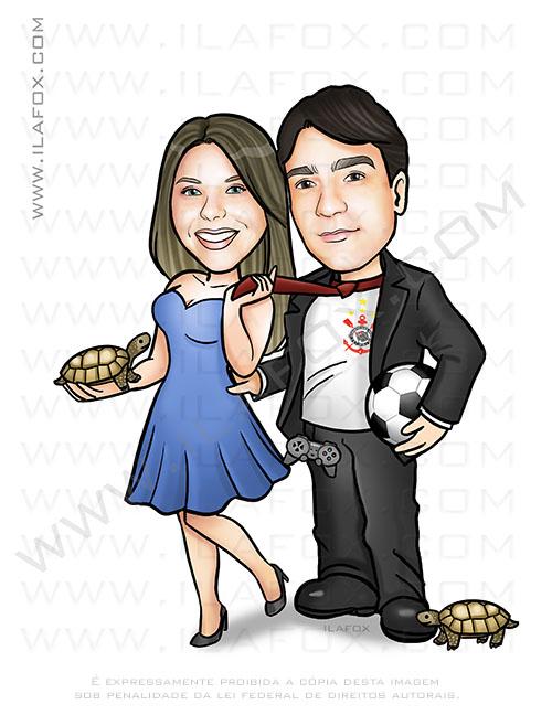 caricatura personalizada, caricatura casal, tartarugas, torcedor corinthians, by ila fox