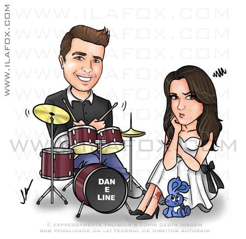 Caricatura casal, noivos, colorido, noivo na bateria, noiva sentada no chão emburrada, caricatura para casamento, by ila fox
