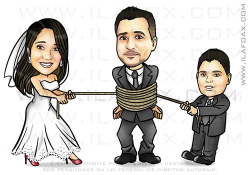 caricatura personalizada, caricatura noivo amarrado, caricatura noivos, caricatura noivo na corda, filho puxando, caricatura divertida, caricatura para casamento, by ila fox