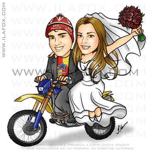 caricatura colorida, casal, noivos na moto, noivinhos ana e nando, noivo são paulino, moto cross, husqvarna TE 610, caricatura para casamento, by ila fox