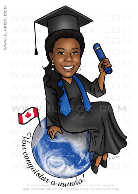 Caricatura formanda Relações Públicas, caricatura moça negra vestindo Toga de formatura, bandeirinha canadá, by ila fox