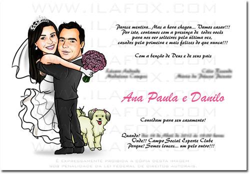 Caricatura noivinhos, corpo inteiro, colorida, noivo abraçando noiva, com cachorrinho, caricatura para casamento by ila fox