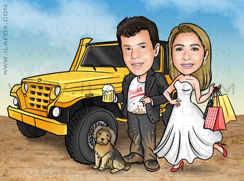 caricatura casal, caricatura noivos, caricatura carro jeep, caricatura com cachorrinho, by ila fox