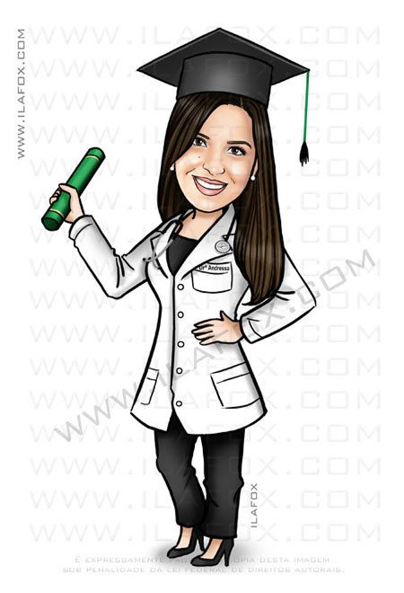 Caricatura formatura, caricatura formanda, medicina, by ila fox
