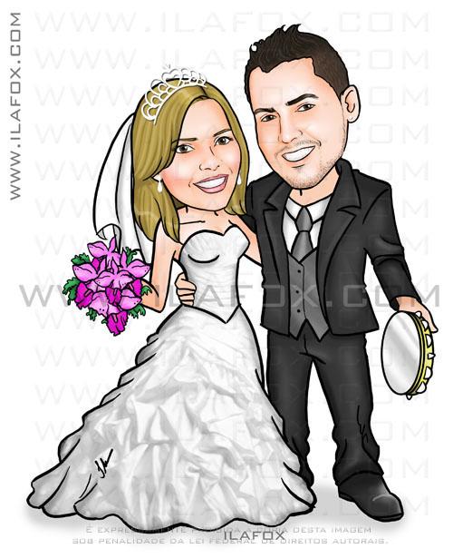 Caricatura noivos, corpo inteiro, casal, colorido, homem segurando pandeiro, noivinhos Andressa e Douglas, caricatura by ila fox