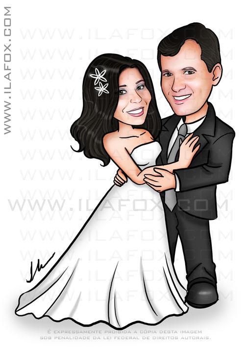 caricatura casal, caricatura noivos, corpo inteiro, caricatura para casamento by ila fox