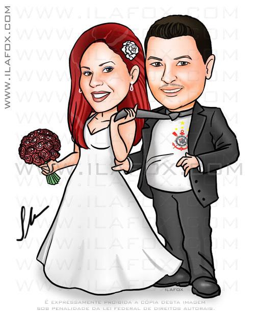 Caricatura noivos, corpo inteiro, noiva ruiva, noivo corinthiano, caricatura para casamentos by ila fox