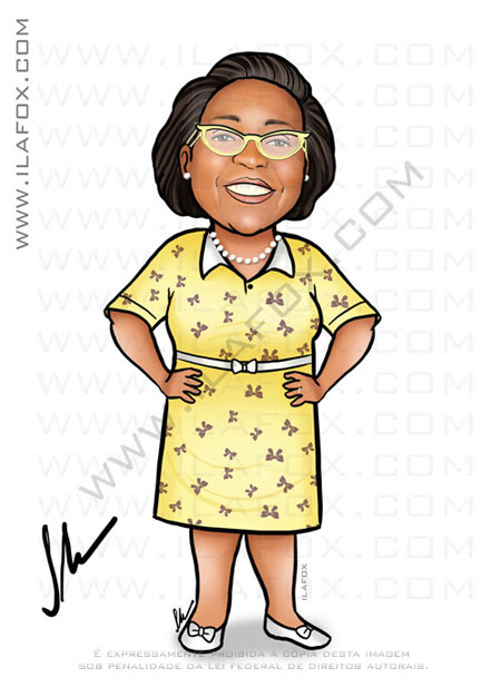 Caricatura senhora negra, mulher negra, caricatura sob encomenda, by ila fox