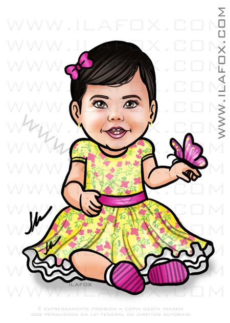 Caricatura infantil, caricatura bebê de vestido, caricatura by ila fox