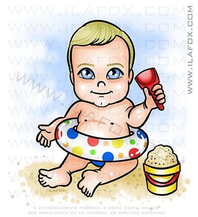 caricatura infantil, caricatura bebê praia, caricatura menino praia, by ila fox