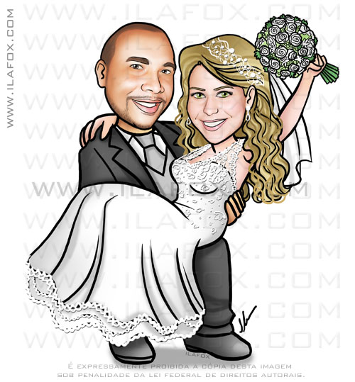 caricatura casamento, caricatura noivos, caricatura noiva no colo, caricatura bonita, noiva loira, noivo moreno, caricatura personalizada, by ila fox