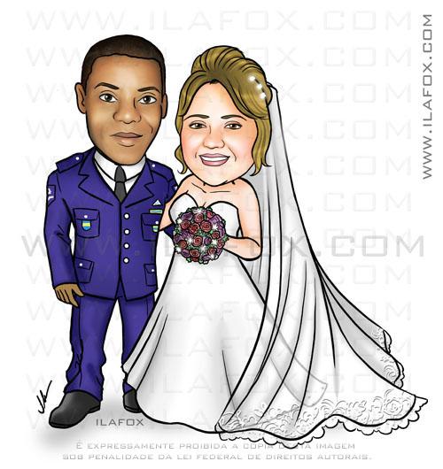 caricatura noivos, corpo inteiro, colorida, noivo negro, rio de janeiro, noiva branca, loira, noivo de farda, militar, caricatura para casamentos, by ila fox
