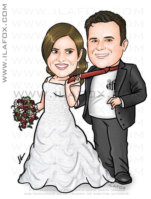 caricatura colorida, corpo inteiro, noivos, casal, noivinhos carolina e emerson, caricaturas para casamentos, by ila fox