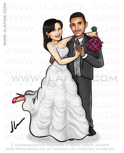 caricatura proporcional, sem exageros, caricatura para noivos, by ila fox