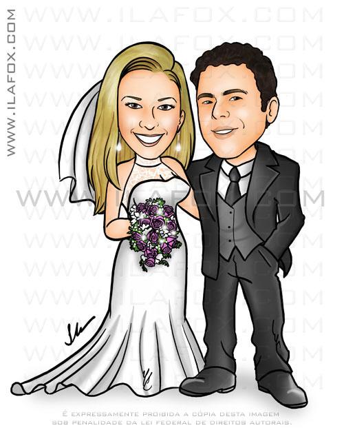 Caricatura, corpo inteiro, noivos, caricatura para casamento, casal by ila fox