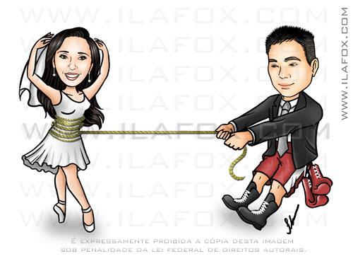 Caricatura, noivo puxando noiva corda, ele boxeador, ela bailarina, noivinhos Celma e Leandro, caricatura para casamento, by ila fox