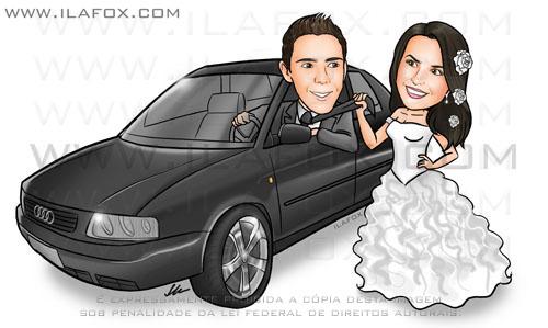 Caricatura noivos, caasl, corpo inteiro, colorido, noivinhos com carro, audi, c noivinhos chaiany e Daniel, caricatura para casamentos by ila fox