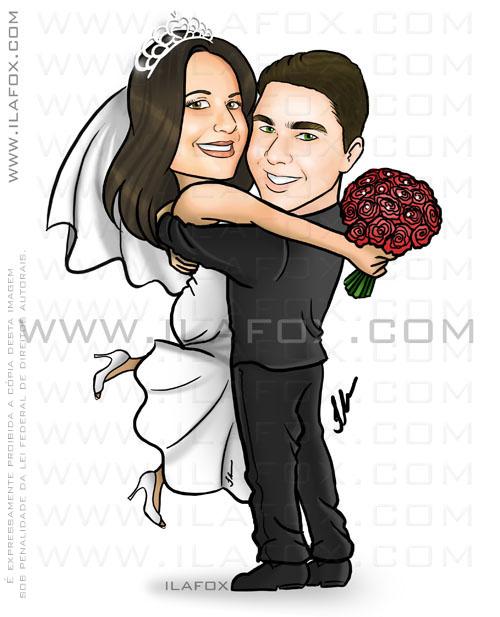 caricatura casal, noivos, corpo inteiro, colorido, noivo abraçando noiva, caricatura para casamento by ila fox