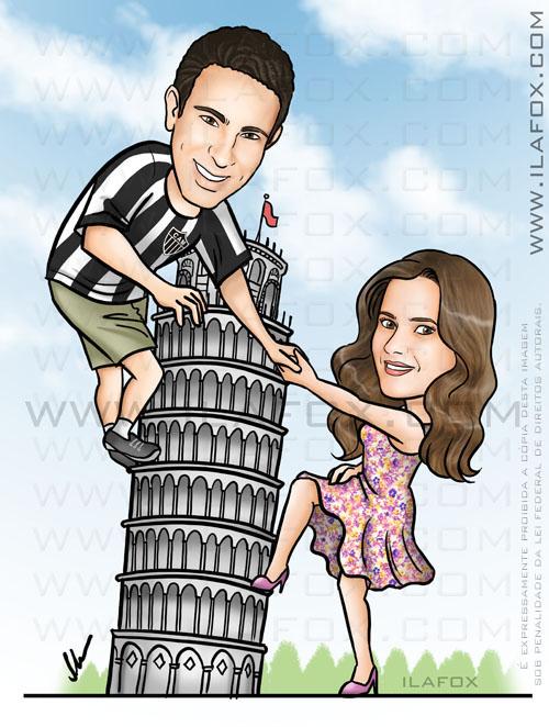Caricatura casal, corpo inteiro, colorido, subindo a torre de pisa, itália, by ila fox
