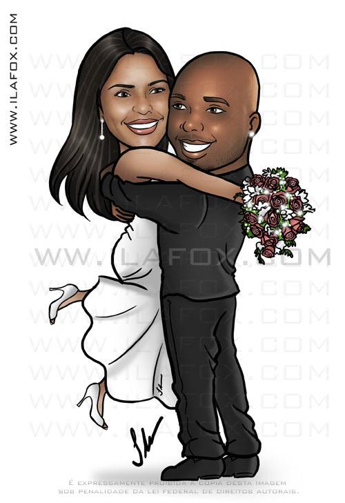 caricatura corpo inteiro, noivo segurando noiva, noivos abraçados, romântico, casal negro, noivinhos Cintia e Vitor, caricatura para casamento,  by ila fox