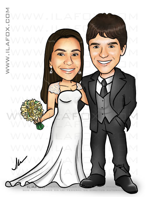 caricatura casal, caricatura noivos, caricatura personalizada, by ila fox
