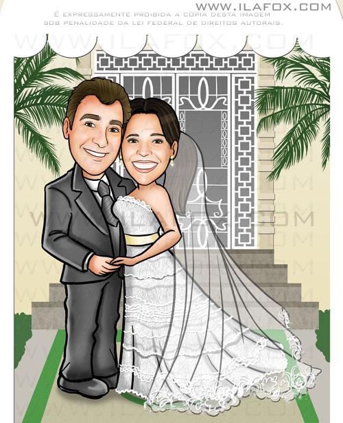 Caricatura personalizada noivos, fundo cartório, caricatura casamento civil, by ila fox