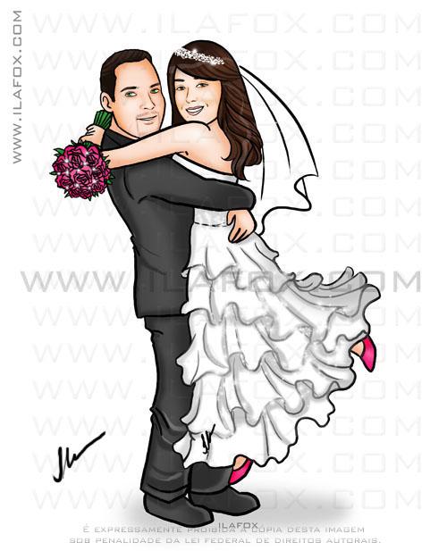 caricatura para casamento, caricatura noivos, caricatura noivinhos abraçados, by ila fox