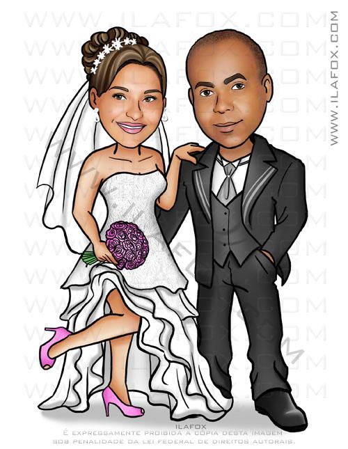 caricatura noivos, caricatura bonita, caricatura para casamento, caricatura noiva negra, noivo negro, by ila fox