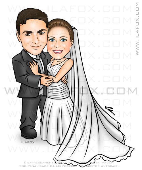 Caricatura casal, noivos, corpo inteiro, colorido, véu longo, caricatura para casamento, by ila fox