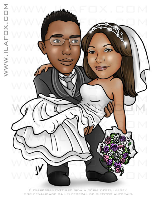 Caricatura colorida, corpo inteiro, casal, noivos, noivo segurando noiva no colo, casal negro, caricatura para casamento, by ila fox