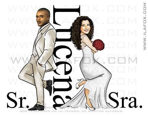 caricatura Sr e Sra Smith, colorida, corpo inteiro, casal negro, Lucena, caricatura para casamento, by ila fox