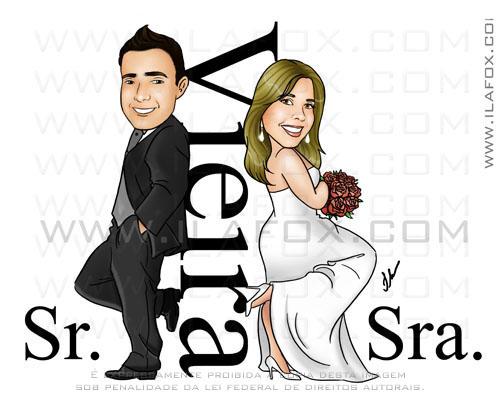 Caricatura colorida casal noivos no estilo Sr e Sra Smith, Vieira, Noivinhos Daiane e Marcos, caricatura para casamento, by ila fox