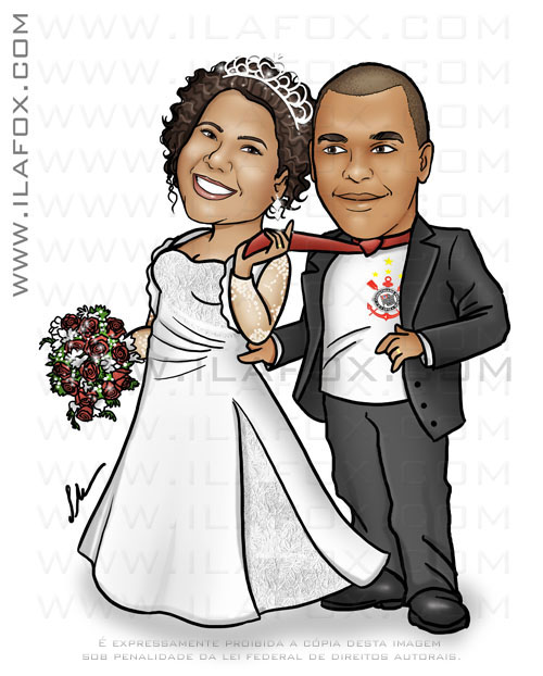 Caricatura casal noivos, corpo inteiro, colorido, casal negro, moreno, noivo com uniforme do Corinthians, noivinhos Daniela e Elizeu, caricatura para casamento,  by ila fox