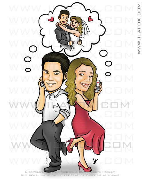 Caricatura colorida, casal no telefone, caricatura para casais by ila fox