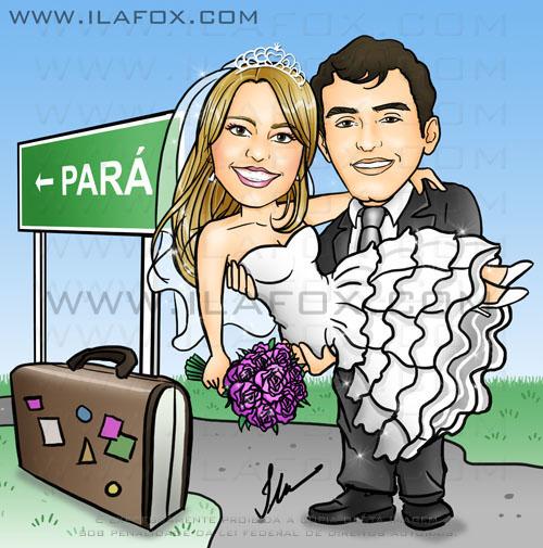caricatura colorida casal, noivos, noivo segurando noiva, noiva no colo, noivinhos Dayane e Arthur, casal que mora à distancia, Pará, caricatura para casamento, by ila fox