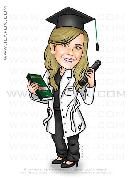 Caricatura formandos, caricatura da Débora, formanda medicina, dermatologista, by ila fox
